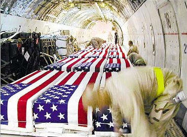 One of 5000 Coffin of US Soldiers from Iraq War